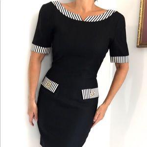 Vintage Black&White Boatneck Classic Dress